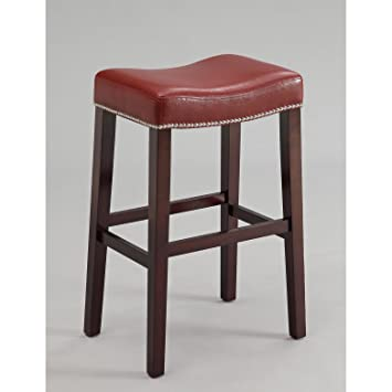 Stupendous Bar Stools Set Of 2 Red Pu With Espresso Base Solid Sturdy Counter Height Bar Stools 19L X 14W X 26H Gmtry Best Dining Table And Chair Ideas Images Gmtryco