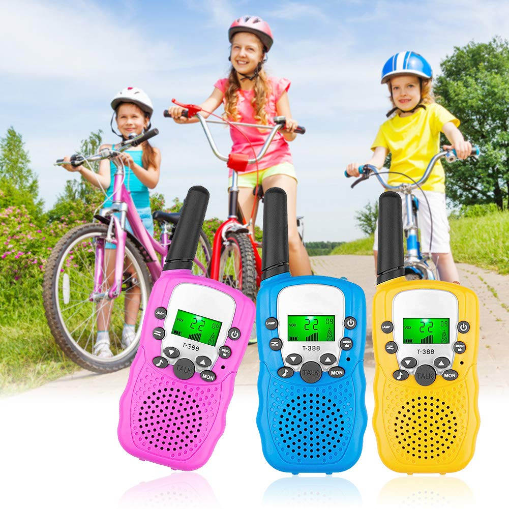 FAITHPRO 3 Pack Walkie Talkies, 2 Way 22 Channels Radio Toy, 3 Miles Range 10 Call Tones Walkie Talkies Built-in Flashlight for Kids Outdoor Use (Pink&Blue&Yellow)