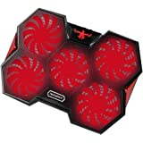 Laptop Cooling Pad, Nobebird Laptop Cooler with 5 Quiet Fans and LEDs, Dual USB Ports, Adjustable Mount Stand, Fits 12-17 Inches (Red)