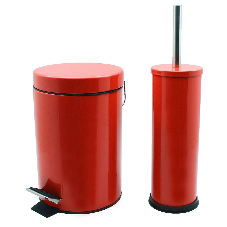 Harbour Housewares Bathroom Pedal Bin Toilet Brush Set - 3 Litre Bin - Red Finish