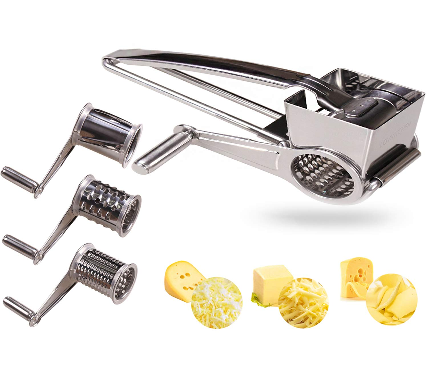LOVKITCHEN Vegetable Cheese Grater with 3 Interchanging Rotary Ultra Sharp Cylinders Stainless Steel Drums & Slicer