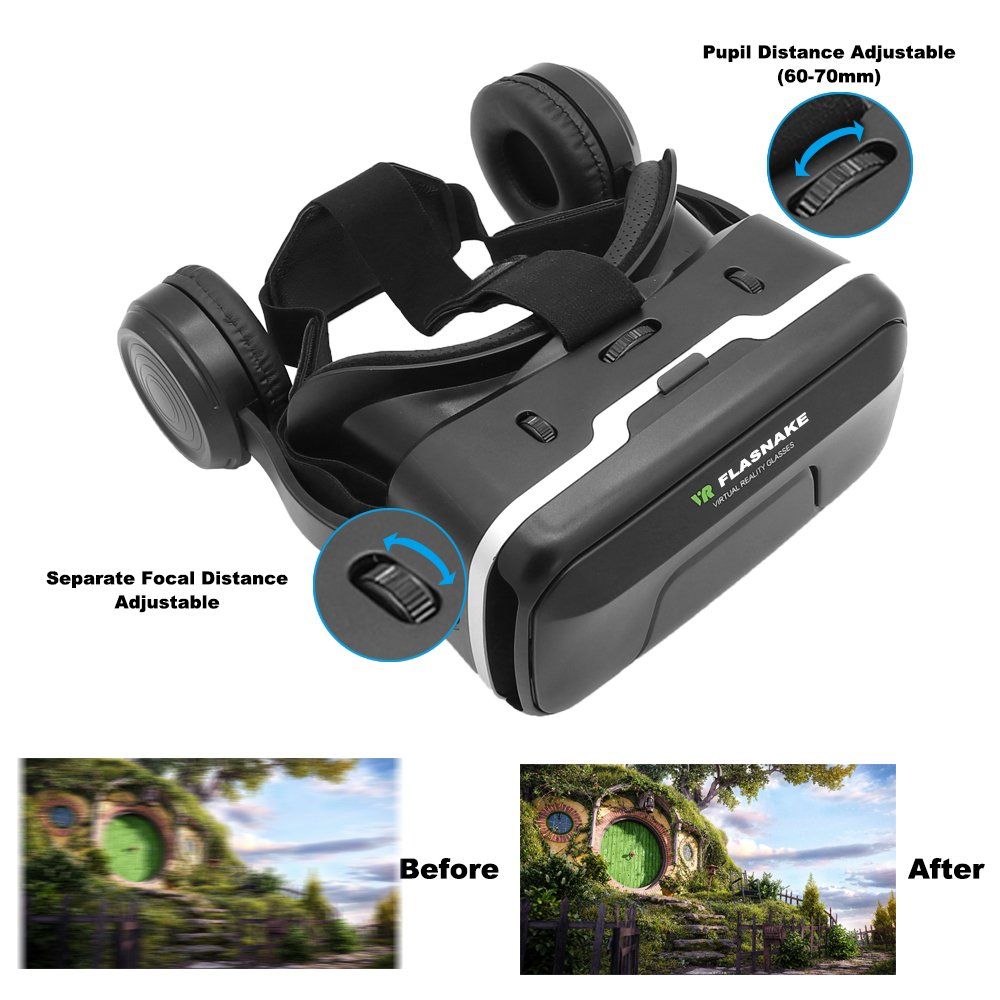 FLASNAKE 3D VR Headset with Remote Controller Virtual Reality Glasses for 3D Movies & VR Games with Stereo Headphone, Adjustable Lenses & Head straps - Compatible with 4.7''-6.0'' IOS/Android Smartphone by FLASNAKE (Image #5)
