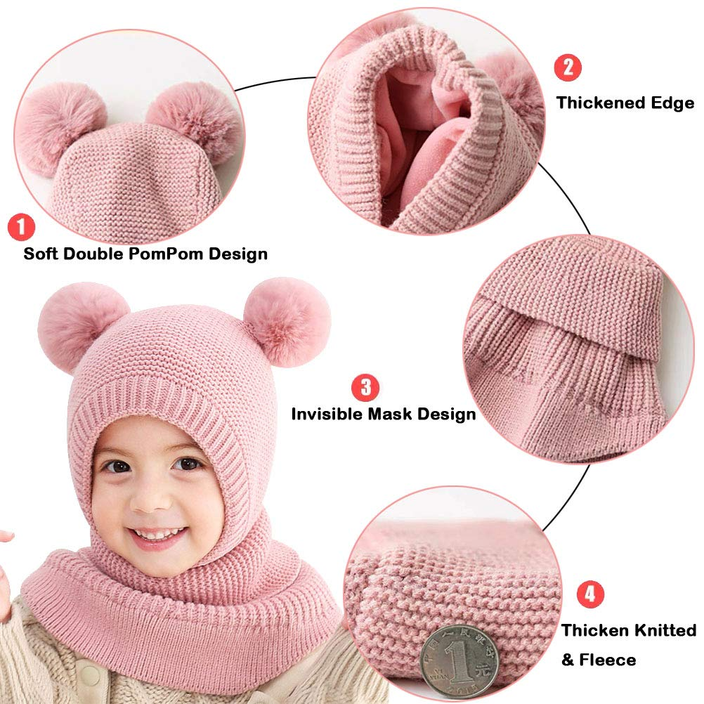 FUYAO Toddler Girls Winter Warm Hat Scarf Baby Fleece Earflap Beanies Hood with Double Pom Pom Windproof Balaclava Skiing Cap for 1-5 Years Old Kids