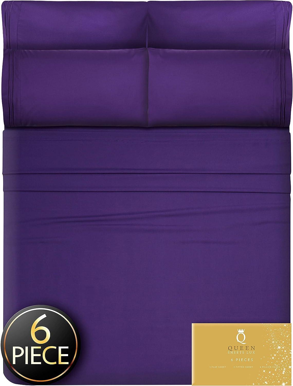 King Size Sheets Deep Pockets - 6 Pcs. Deep Pocket King Sheets Deep Pocket King Bed Sheets King Sheet Set Bedding Sets King Size Bed Sheets King Size Bedding Set King Fitted King Sheets Purple