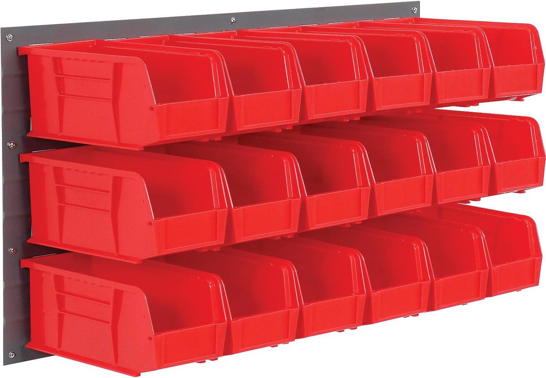 Wall Bin Rack with 18 Red Bins 36x11x19