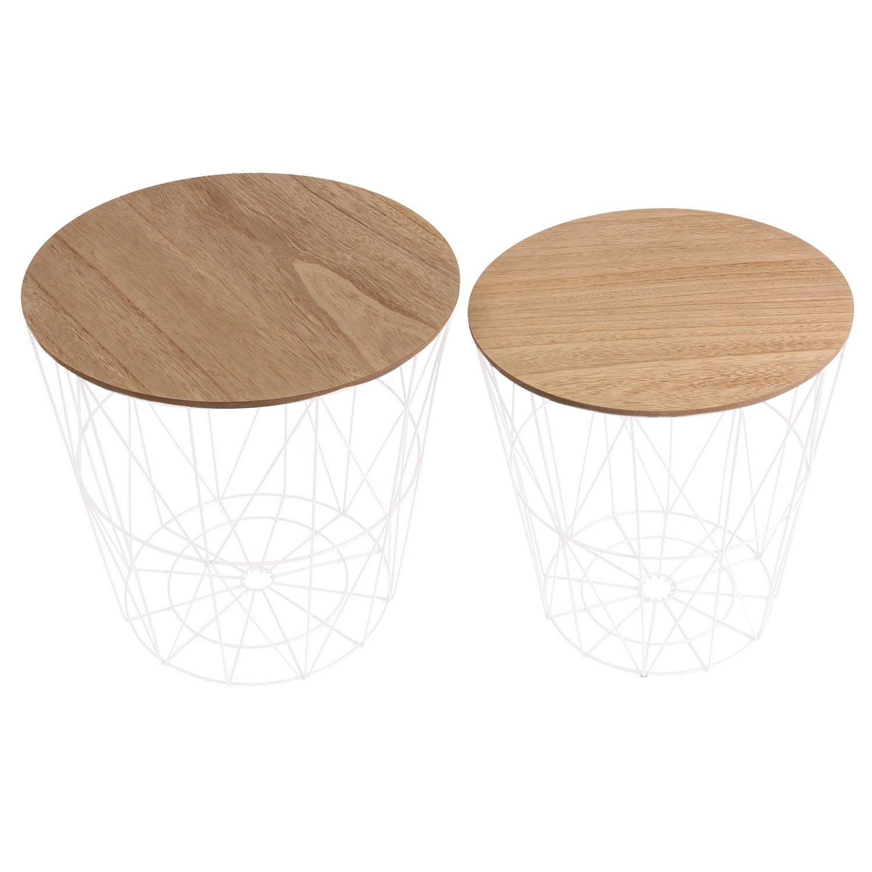 THE HOME DECO FACTORY hd3833 Tische Kabelgebundene X2 Holz und Metal MDF + Metal weiß 40 x 40 x 40,5 cm