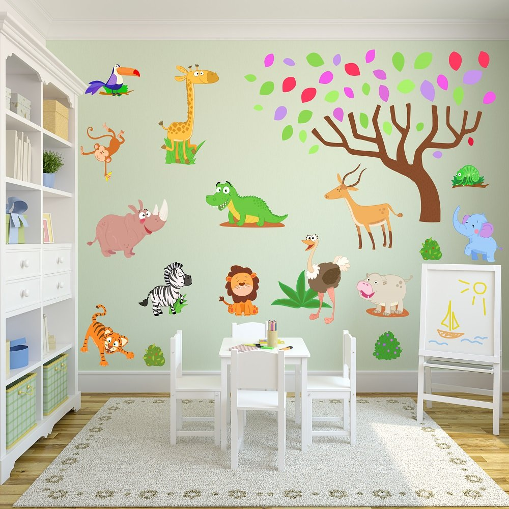 Jungle and Safari Wall Stickers for a New Baby Boy or Girl Nursery. (Heat activated Peel and Restick) with cute and colourful Animal design. (Large Size, 2 rolls) Little Zebra