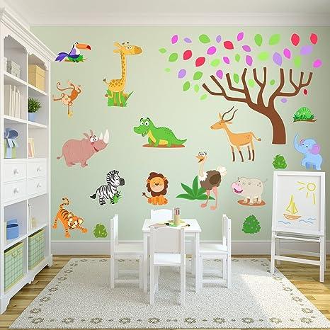 Jungle et Safari Stickers muraux pour une nouvelle Chambre d\'enfant ...
