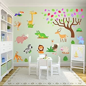 Jungle et Safari Stickers muraux pour une nouvelle Chambre d ...