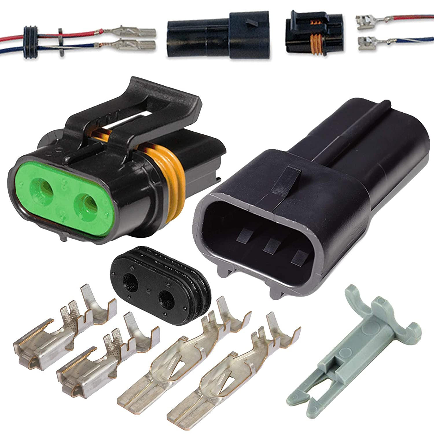 2 Pin Delphi Metri-Pack Waterproof Connector 14-12awg Terminals and Seals 46Amp Aptiv (formerly Delphi)
