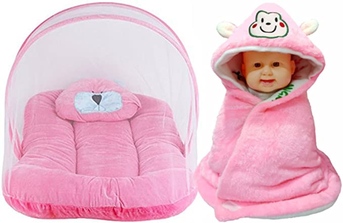 Brandonn Premium Toddler Mattress with Mosquito Net and Hooded Baby Blanket Pack (Pink, Pack of 2)