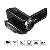 FLOUREON Videocamera 4K WIFI Ultra HD, Zoom Digitale 16x, Modalità AP, Visione notturna IR, LCD 3.0 Pollici, 270° Rotazione con Touch Screen