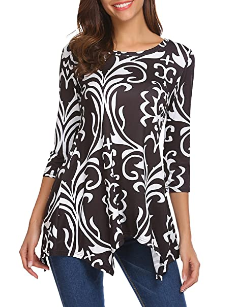 e3e5ee698e633 Sherosa Women's Floral Print 3/4 Sleeve Tunic Top Loose Blouse Basic T-Shirt