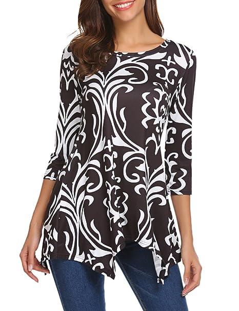 c5ad015ef05 Sherosa Women s Floral Print 3 4 Sleeve Tunic Top Loose Blouse Basic T-Shirt
