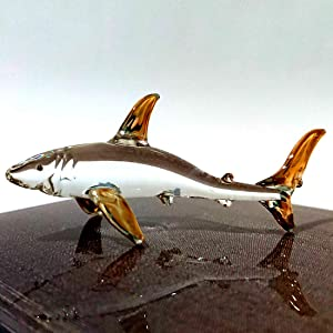 Sansukjai Shark Miniature Figurines Animals Hand Blown Glass Art W/ 22k Gold Trim Collectible Gift Decorate, Clear