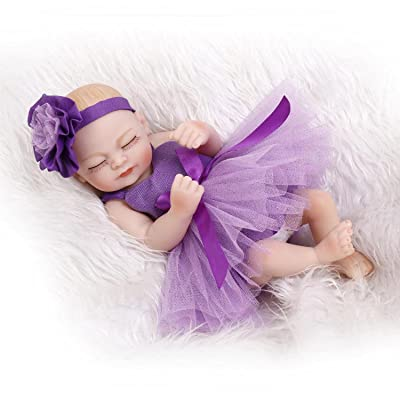 "TERABITHIA Miniature 11"" Lifelike Sleeping Reborn Baby Dolls Headband Violet Flower Washable Girl: Toys & Games"