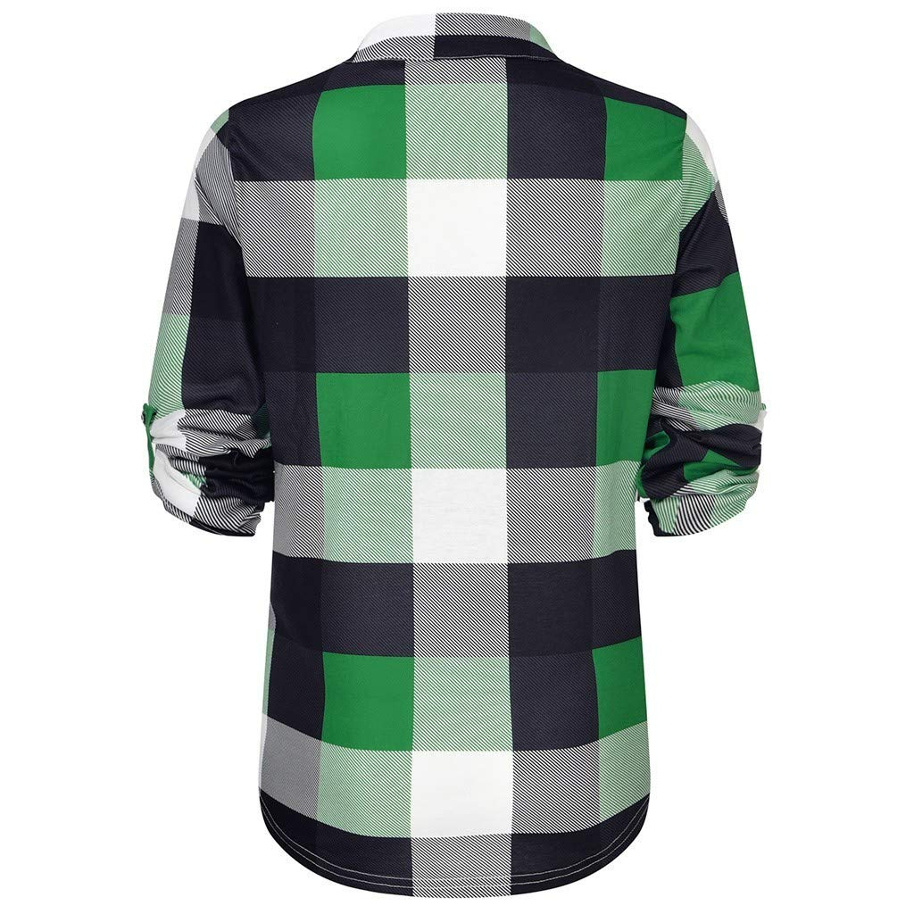 BITOPYTOPSIY Women Casual V Neck Plaid Loose Roll Up Button Down Shirts Off Shoulder Long Sleeve Slim Blouse Tunic Tops