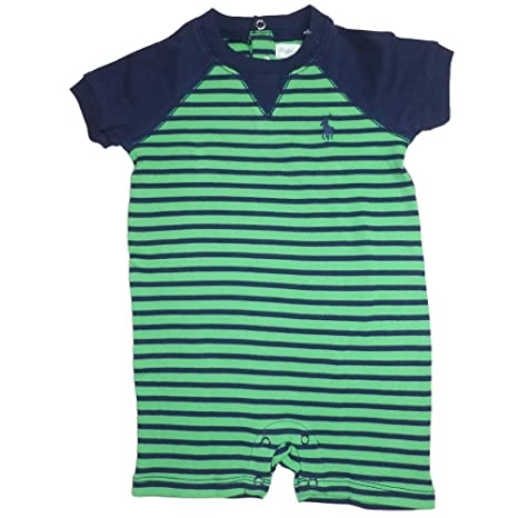 Ralph Lauren Niños Verano Pelele jugador verde azul oscuro rayas ...