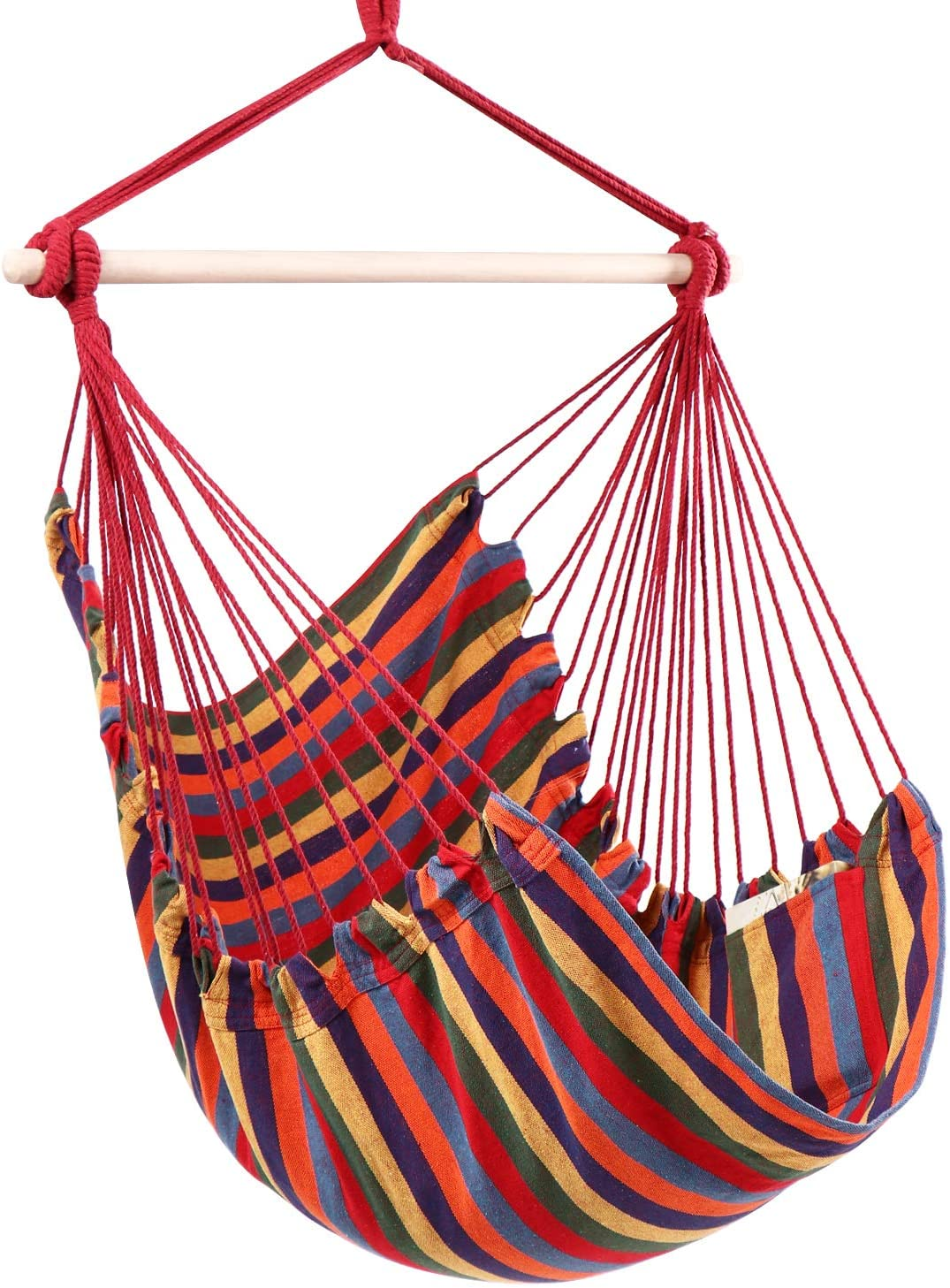 Y- STOP Hammock Chair Hanging Rope Swing - Max 330 Lbs - Quality Cotton Weave for Superior Comfort & Durability (Red Stripe)