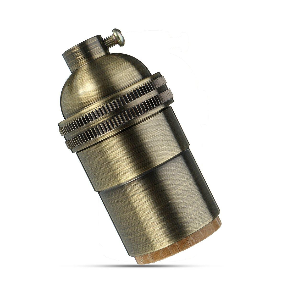 MASUNN E26 E27 Retro en Laiton Massif Lumi/ère Douille De Lampe Industrielle Vintage Support AC110-250V-Bronze