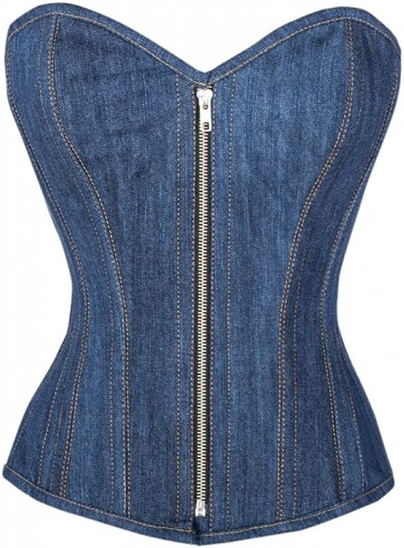 Blue Denim Zipper Gothic Plus Size Bustier Waist Shaper Overbust Corset Costume