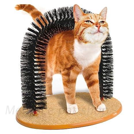 SmartRICH Arco Masajeador para gatos con base de forro polar redonda, juguete para gatos,