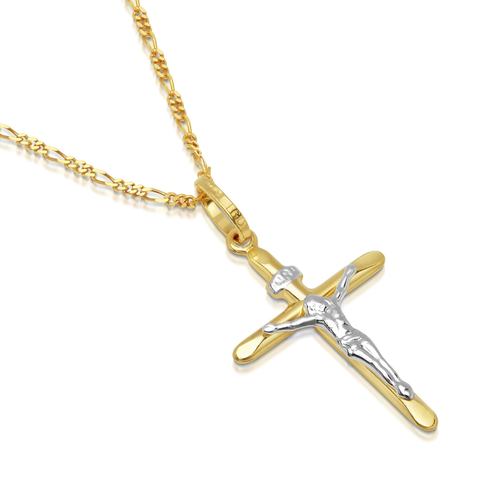 DTLA Solid 14K Gold Figaro Chain Two-Tone Cross Pendant Crucifix Necklace - 20''