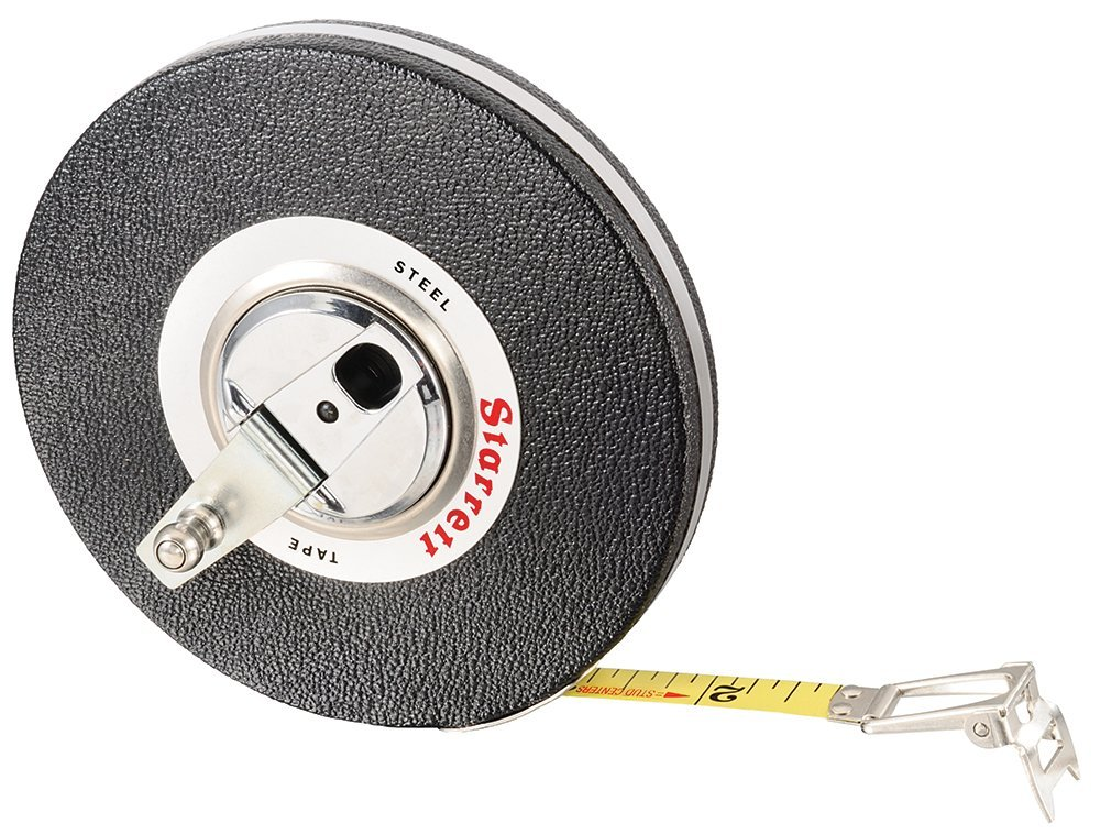 Starrett 530-100 Vinyl/Steel Case Black Closed Reel Steel Long Tape, English Graduation Style, 100' Length, 0.375'' Width, 0.125'' Graduation Interval