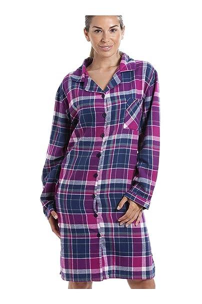 Camille Nachthemd mit Langen Ärmeln und Knopfleiste vorne - Baumwoll-Flanell - Karomuster in Violett & Dunkelblau