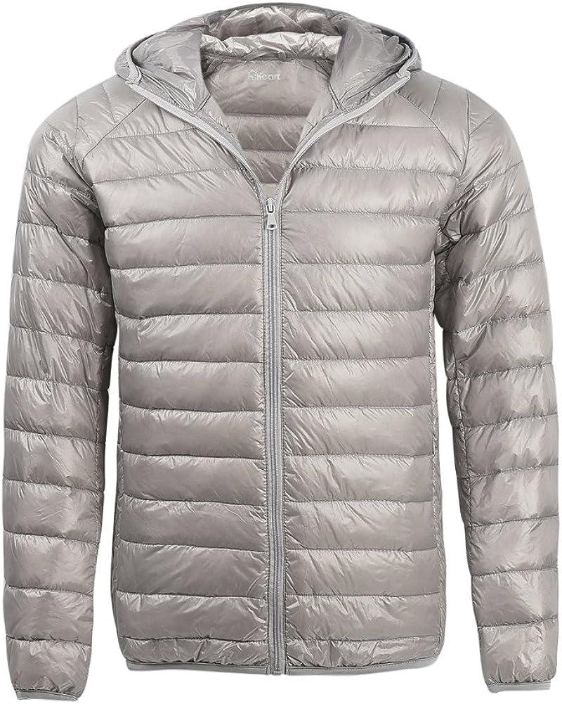 Highisa Men Hood Ultra Light Weight Full Zip Plus-Size Warm Slim Down Parka