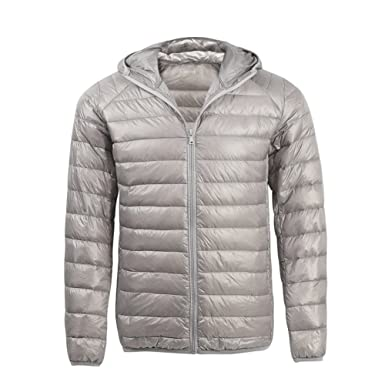 93b6598220e Hiheart Mens Light Weight Down Jackets Packable Hooded Down Sweater Grey XS