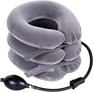 RAKZU Cervical Neck Traction Device Inflatable Adjustable Neck Collar Device for Neck Shoulder Back Head Pain Relief Inflatable Spine Alignment Pillow, Gray