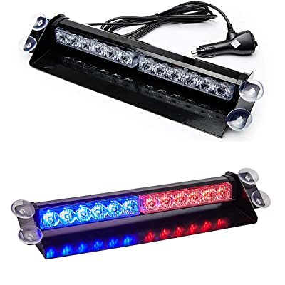 SMALLFATW Led Emergency Warning Lights 9 Flash Patterns High Intensity Visor Upgrade Strobe Light Bar Car Truck Warning Light Bar Fit for Interior Dash/Windshield with Suction Cups (Red/Blue): Automotive