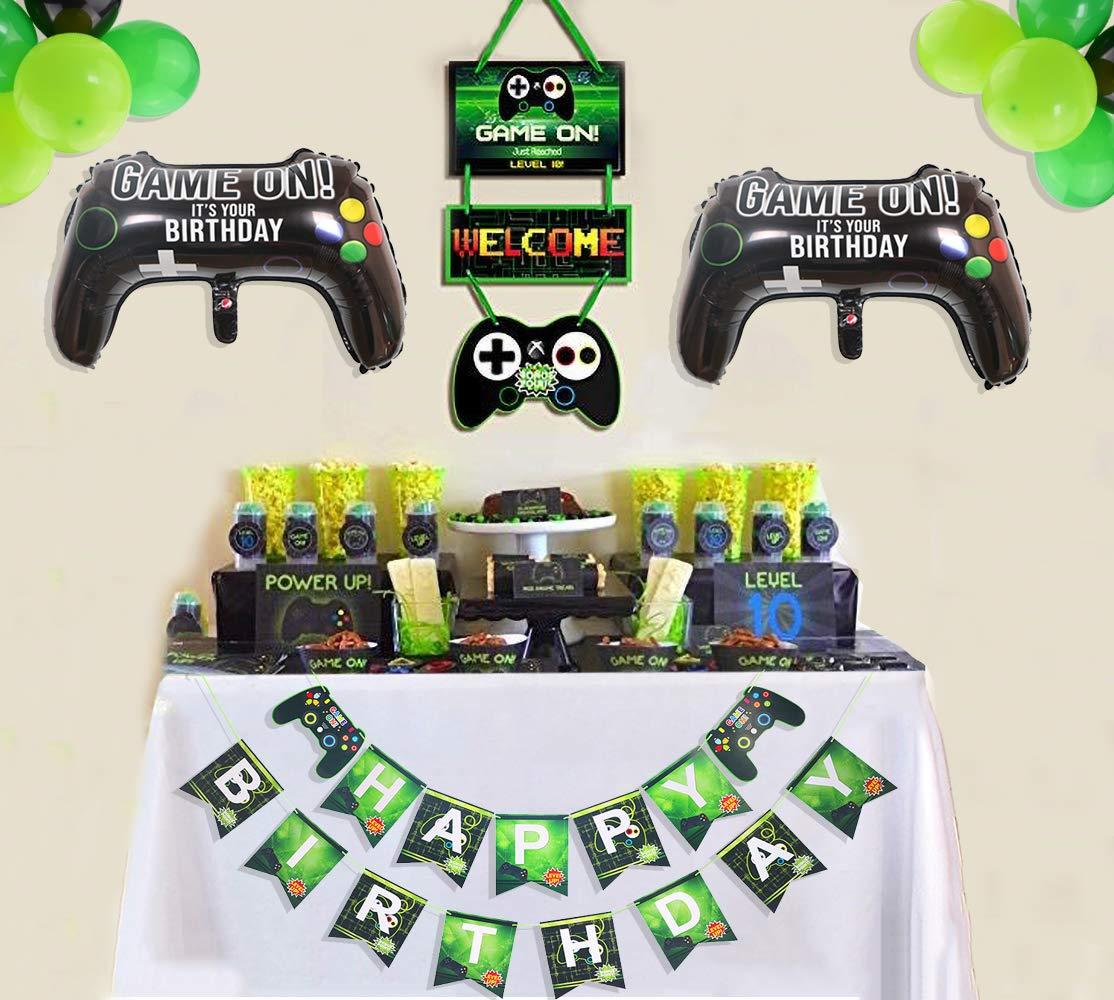 PIXHOTUL Suministros para Fiestas de Videojuegos Happy Birthday Gaming Banner, Decoración Colgante de Bienvenida y Globos Temáticos de Jugador de 32 ...