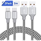 USB Type C Cable GlobaLink USB C to USB A 2.0 [2-Pack 2M] Nylon Braided Fast Charging Sync Cable for Google Pixel, LG G6 V20 G5, Nintendo Switch, Samsung Galaxy S8 Plus More ( Black )