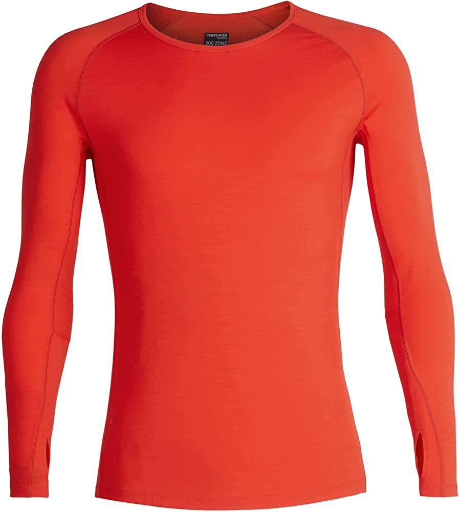 New Zealand Merino Wool Icebreaker Merino Zone Midweight Base Layer Long Sleeve Crew Neck Shirt