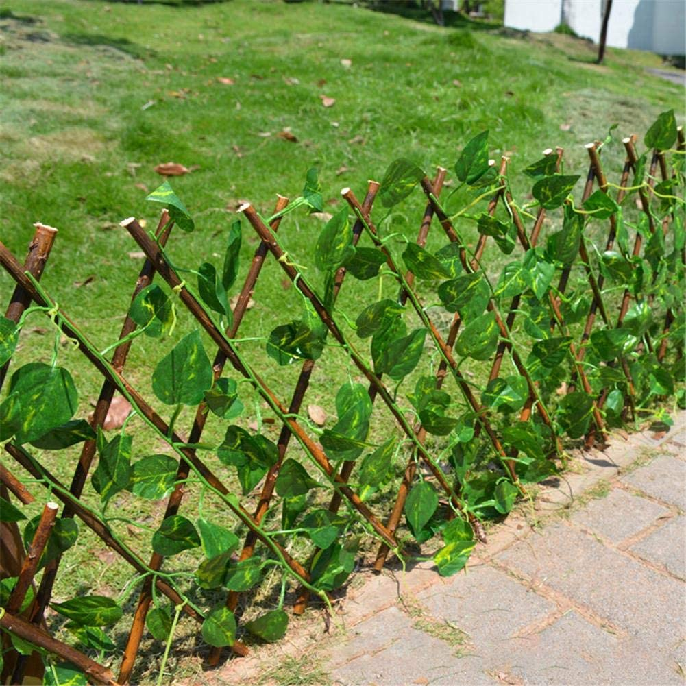 didatecar 40cm Expanding Trellis Fence Retractable Fence Artificial Garden Plant Fence UV Protected Privacy Screen for Outdoor Indoor Use Garden Fence Backyard Home Decor Greenery Walls Honest
