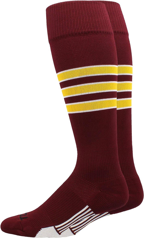 Multiple Colors MadSportsStuff Dugout 3 Stripe Baseball Socks Over The Calf Length