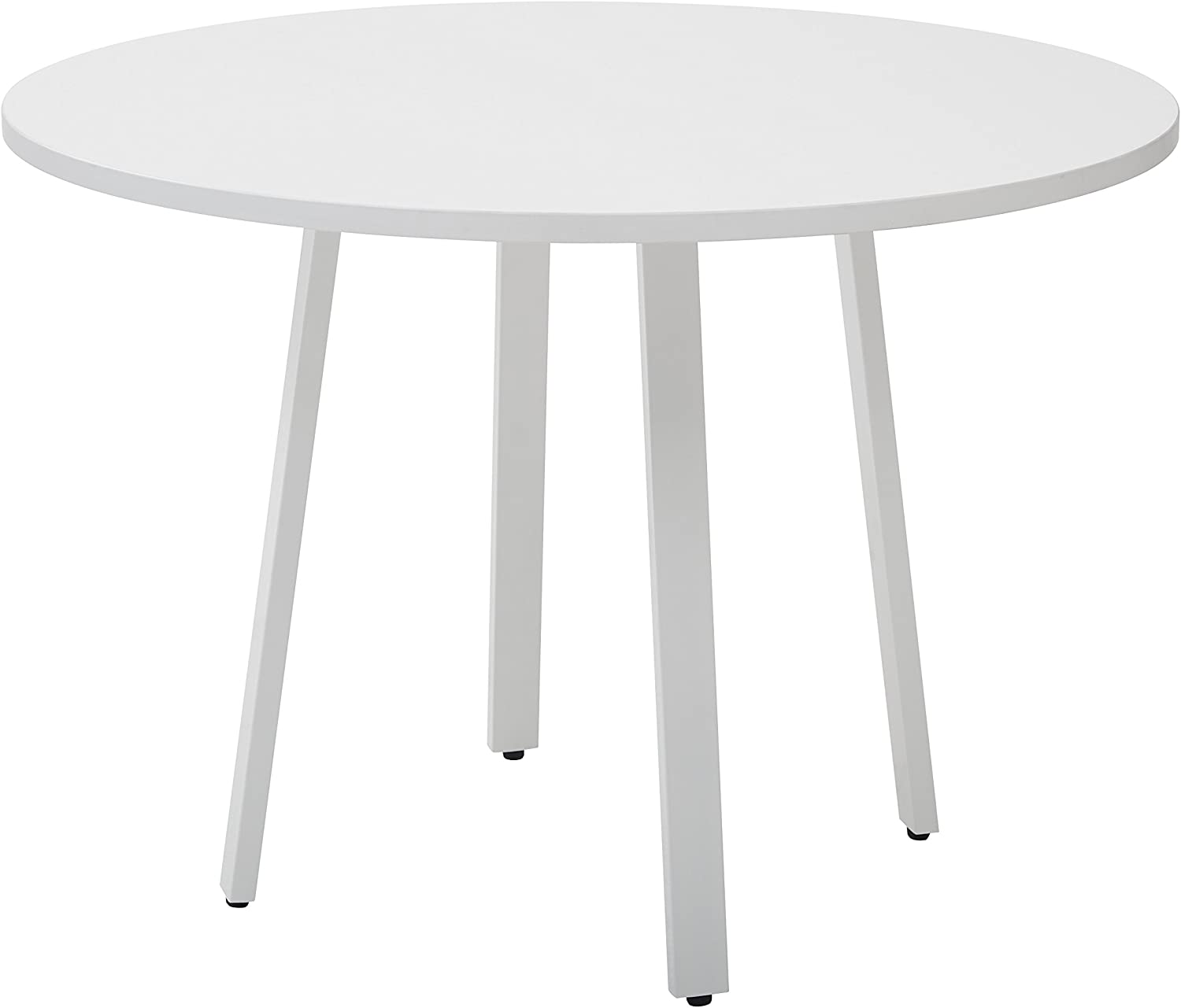 """OSP Home Furnishings Prado 42"""" Round Conference Table with White Laminate Top & White Finish Metal Legs"""