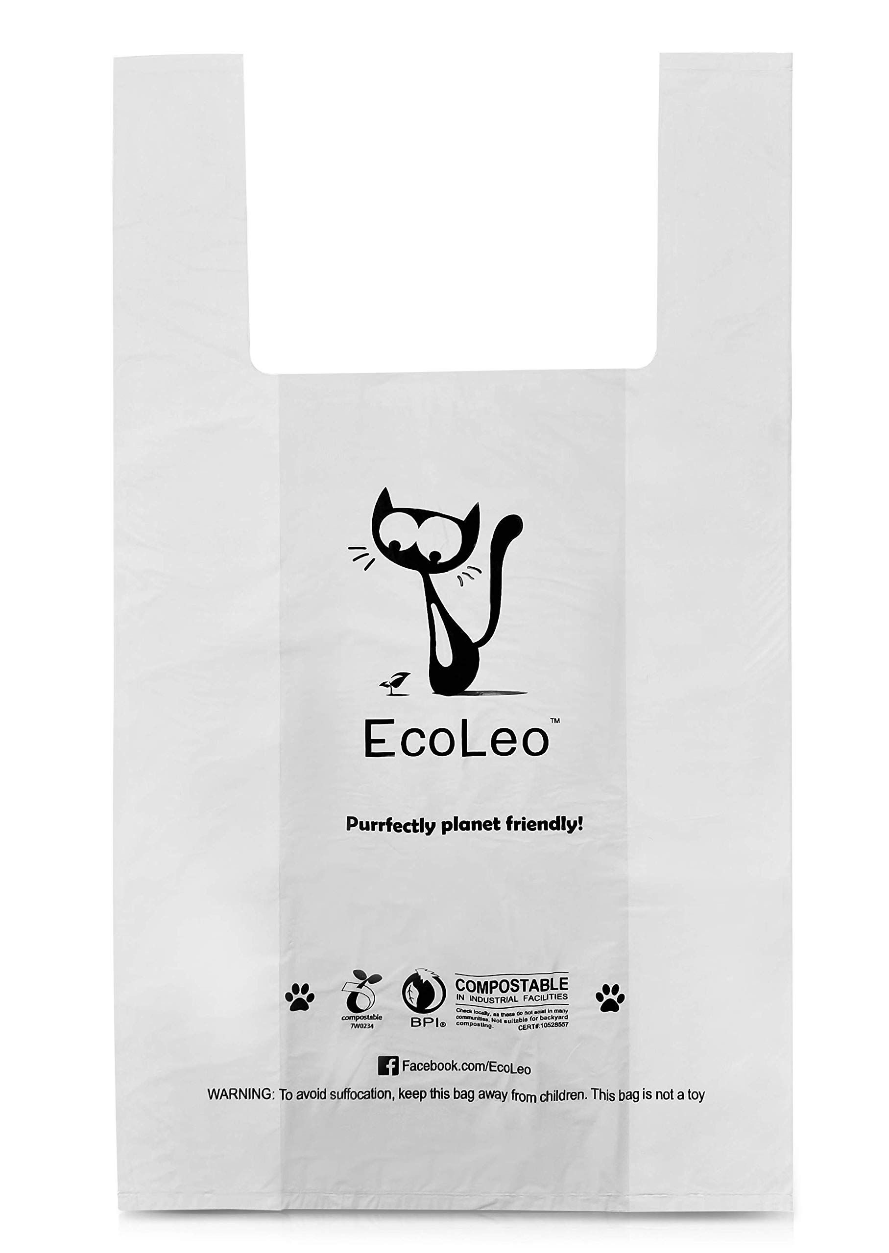 EcoLeo Back in Stock Late May Cat Litter Waste Bags - X-Large, Certified Compostable, Biodegradable, Thick, Leak Proof, Pet/Dog Poop Bags with Easy-Tie Handles,10 x 17.7 inch, 120 Count