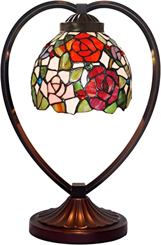 HT Tiffany Style Night Light Table Lamp 10 Inch Wide Rose Design Mediterranean Stained Glass Shade 1-Light Iron Base Traditional Handmade Lighting Decor