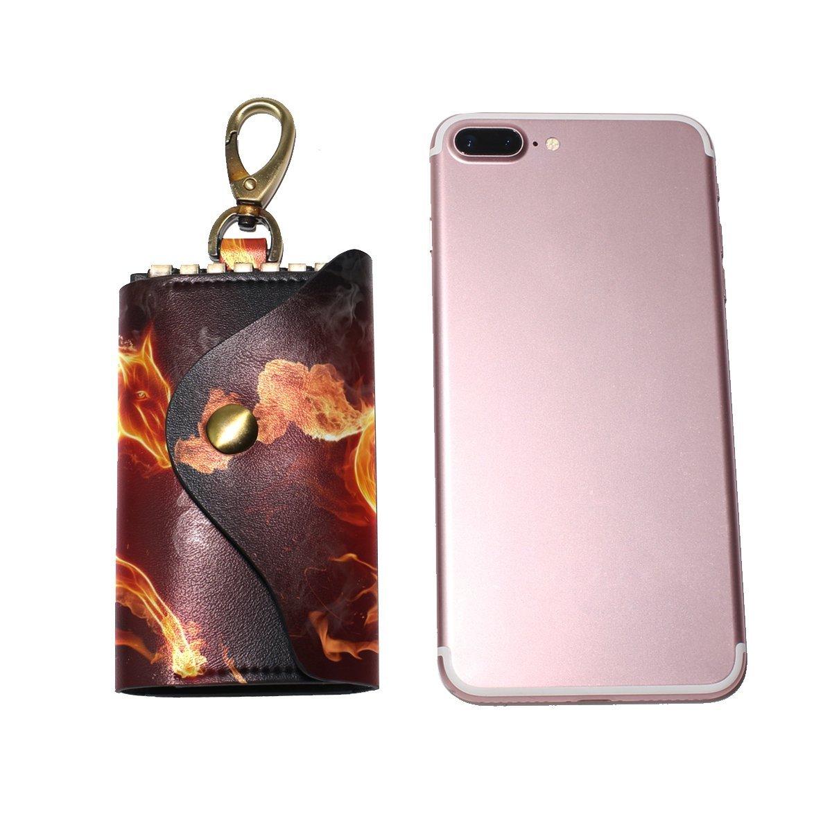 DEYYA Horse Flames Leather Key Case Wallets Unisex Keychain Key Holder with 6 Hooks Snap Closure