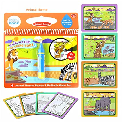 Tangomall Animal Magical Water Coloring Book with Water Pen for Kids Water  Activity Book Paint with Water Book for Toddlers (Animal Theme)