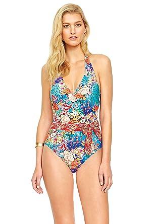 55bbccc6a0 Gottex Women s Kyoto One Piece Surplice Halter Swimsuit at Amazon ...