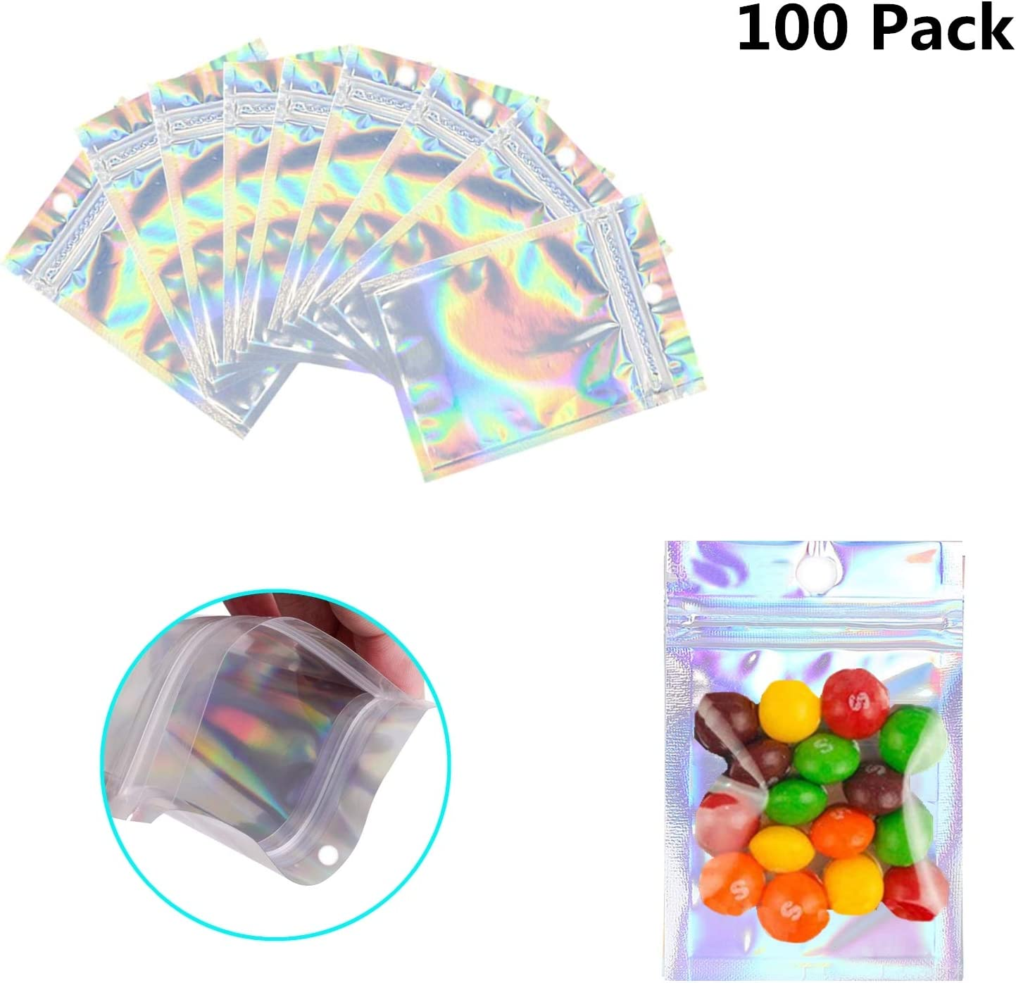 100 Pack Resealable Mylar Bags Smell Proof Pouch Aluminum Foil Packaging Plastic Ziplock Bag,Small Mylar Storage Bags For Candy,Jewelry,Screw,Holographic Rainbow Color (2.8 x 3.9 inch)