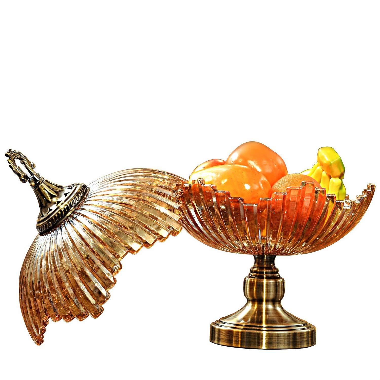 HARDY-YI ヨーロッパ風クリスタルガラスフルーツボウルふた個性高級装飾リビングルームホームフルーツボウル家の装飾工芸品フルーツプレート -フルーツバスケット   B07PKG812R