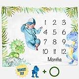 Dinosaur Month Blanket Boy, Baby Monthly Milestone Blankets, Infant Dino Nursery Tyrannosaurus Rex, Triceratops Baby…
