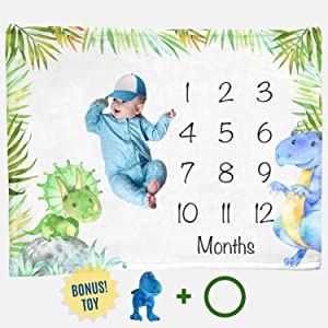 "Dinosaur Month Blanket Boy, Baby Monthly Milestone Blankets, Infant Dino Nursery Tyrannosaurus Rex, Triceratops Baby Shower Gifts, Nap Mat Girl, Photography Photo Props (Minky 50x40"")"