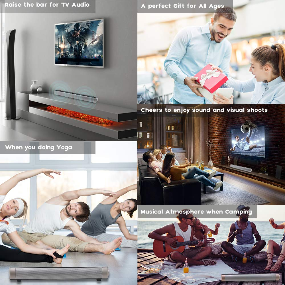 Soundbar TV Sound bar 3D Surround Sound Speaker, Mini Soundbar Home Theater with Remote Control Dual Connection Methods for TV PC Smartphones Music and Movie by Geekroom (Image #4)