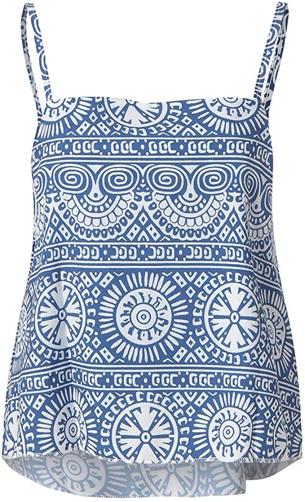 FRCOLT Womens Bohemia Style Summer Strappy Vest Top Sleeveless Casual Camisole Vest